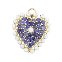 14KT Yellow Gold 6.48 ctw Sapphire and Pearl Pin