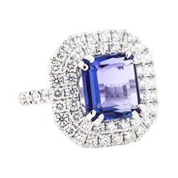 18KT White Gold 3.60 ctw Tanzanite and Diamond Ring