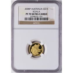 2008P Australia $15 Koala Proof Gold Coin NGC PF70 Ultra Cameo