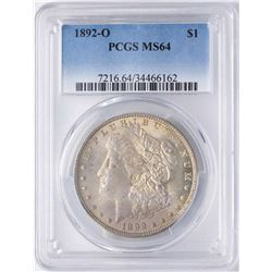 1892-O $1 Morgan Silver Dollar Coin PCGS MS64 Nice Toning