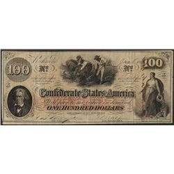 1863 $100 Confederate States of America Note