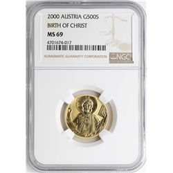 2000 Austria 500 Schillings Birth of Christ Gold Coin NGC MS69