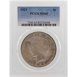 1923 $1 Peace Silver Dollar Coin PCGS MS65