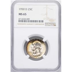 1950-D Washington Quarter Coin NGC MS65