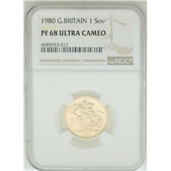1980 Great Britain Sovereign Gold Coin NGC PF68 Ultra Cameo