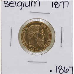 1877 Belgium Leopold 20 Francs Gold Coin