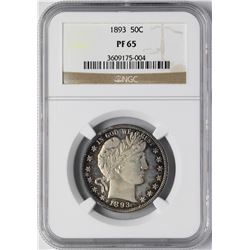 1893 Proof Barber Half Dollar Coin NGC PF65