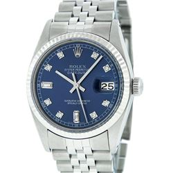 Rolex Men's Stainless Blue Diamond 36MM Datejust Wristwatch