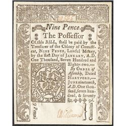 1776 Nine Pence Continental Currency Note