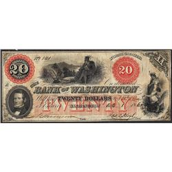 1861 $20 Bank of Washington North Carolina Obsolete Note