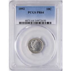 1892 Proof Barber Dime Coin PCGS PR64