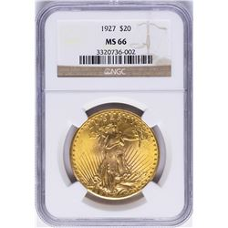 1927 $20 St. Gaudens Double Eagle Gold Coin NGC MS66