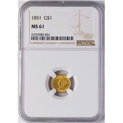1851 $1 Liberty Princess Head Gold Dollar Coin NGC MS61