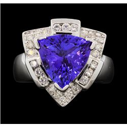 14KT White Gold 5.59 ctw Tanzanite and Diamond Ring