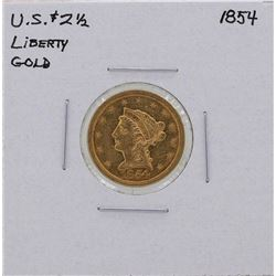 1854 $2 1/2 Liberty Head Quarter Eagle Gold Coin