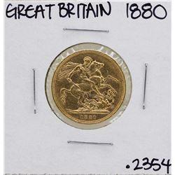1880 Great Britain Queen Victoria Sovereign Gold Coin