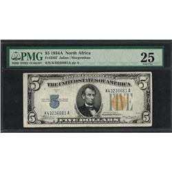 1934A $5 North Africa Silver Certificate WWII Emergency Note Fr.2307 PMG Very Fi