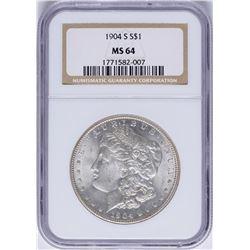 1904-S $1 Morgan Silver Dollar Coin NGC MS64