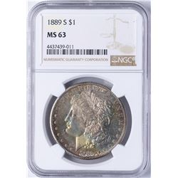 1889-S $1 Morgan Silver Dollar Coin NGC MS63 Amazing Toning