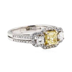18KT White and Yellow Gold 1.20 ctw Yellow and White Diamond Ring