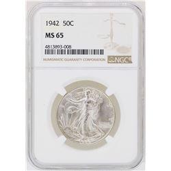 1942 Walking Liberty Half Dollar Coin NGC MS65