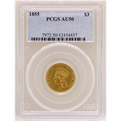 1855 $3 Indian Princess Head Gold Coin PCGS AU50