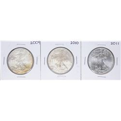 Lot of 2009-2011 $1 American Silver Eagle Coins
