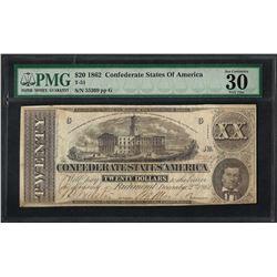 1862 $20 Confederate States of America Note T-51 PMG Very Fine 30 Canceled