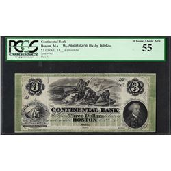 1800's $3 'Polar Bear' Continental Bank Boston Obsolete Note PCGS Choice About N