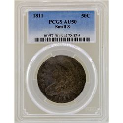 1811 Small 8 Capped Bust Half Dollar Coin PCGS AU50