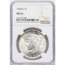 1928-S $1 Peace Silver Dollar Coin NGC MS61