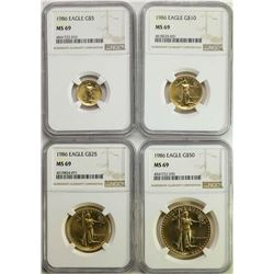 Set of (4) 1986 American Gold Eagle Coins NGC MS69