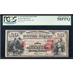 1875 $20 Newark, Ohio CH# 858 National Currency Note PCGS Choice About New 58PPQ