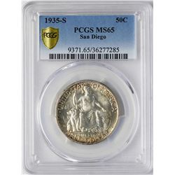 1935-S San Diego Commemorative Half Dollar Coin PCGS MS65