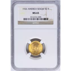1926 $2 1/2 Sesquicentennial Commemorative Gold Coin NGC MS65