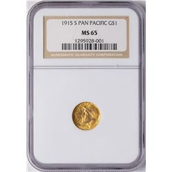 1915-S Panama Pacific $1 Commemorative Gold Dollar Coin NGC MS65