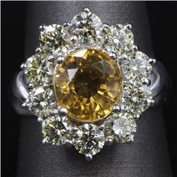 14KT White Gold Fashion Sunflower Citrine and Diamond Ring