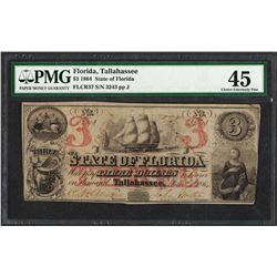 1864 $3 State of Florida Tallahassee Obsolete Note PMG Choice Extremely Fine 45