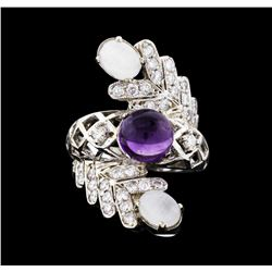 14KT White Gold 4.36 ctw Amethyst and Diamond Ring