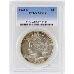 1924-S $1 Peace Silver Dollar Coin PCGS MS63