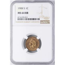 1908-S Indian Head Cent Coin NGC MS64RB