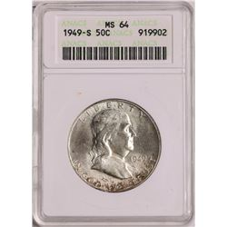 1949-S Franklin Half Dollar Coin ANACS MS64