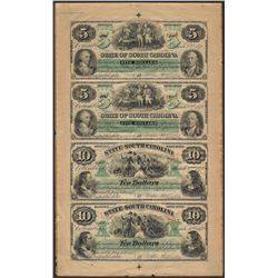 Uncut Sheet of $5/$5/$10/$10 State of South Carolina Obsolete Notes