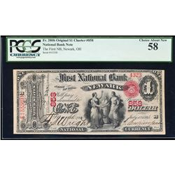 Original 1865 $1 Newark, Ohio CH# 858 National Currency Note PCGS Choice About N