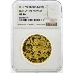 2016 Australia $100 Year of the Monkey Gold Coin NGC MS70