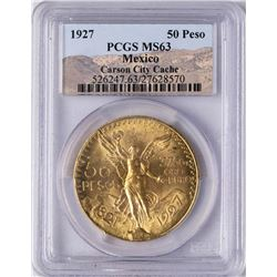 1927 Mexico 20 Pesos Gold Coin PCGS MS63 Carson City Cache