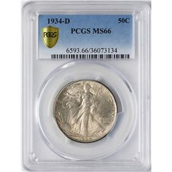 1934-D Walking Liberty Half Dollar Coin PCGS MS66