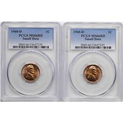 Lot of (2) 1960-D Small Date Lincoln Wheat Cent Coins PCGS MS66RD