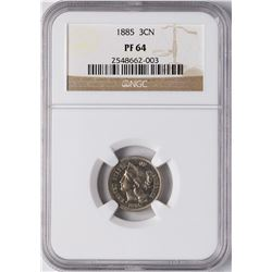 1885 Proof Three Cent Nickel Coin NGC PF64