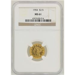 1904 $2 1/2 Liberty Head Quarter Eagle Gold Coin NGC MS61